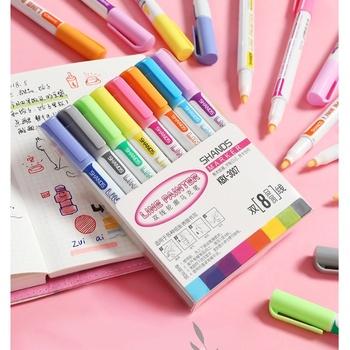 8 różnych linii brokatowym kolorze malarz zestaw długopisów marker do malowania liniowej do rysowania malowanie kaligrafii dziennik pamiętnik Album szkoła F095 tanie i dobre opinie VALIOSOPA CN (pochodzenie) 8 kolory line paint 8 Colors Box Art marker