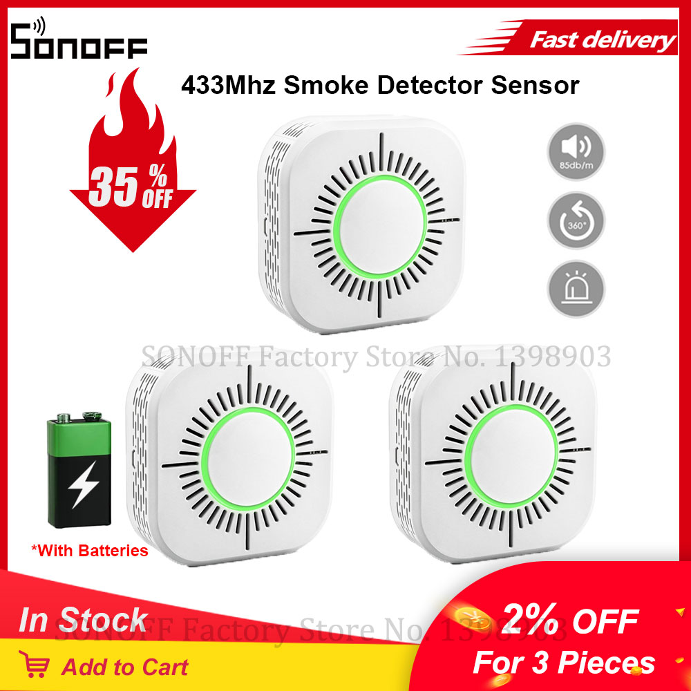 3 шт. eWeLink умный дом сигнализации Беспроводной 433 МГц RF детектор дыма Сенсор с Батарея дыма пожарной сигнализации работает с SONOFF RF Bridge