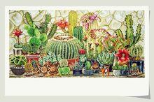 Gold Collection Counted Cross Stitch Kit Cactus Cacti Cereus Tropical Plant Potted Landscape