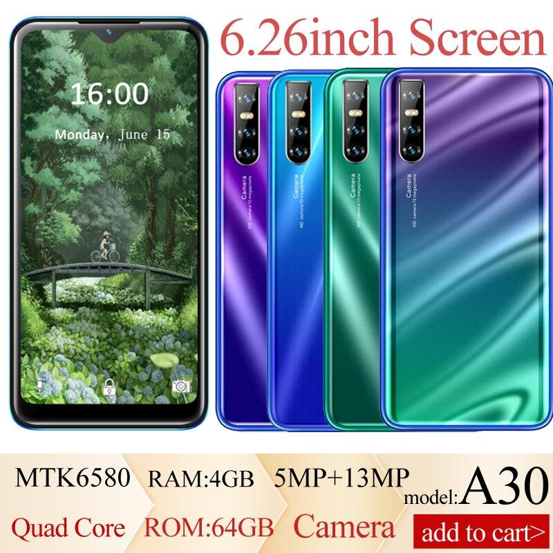 Смартфон A30, 4 + 64 ГБ, Android, 6,26 дюйма, Full HD, 5 + 13 МП
