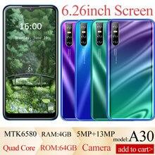 A30 4 gb ram 64 gb rom telefones celulares android versão global 6.26 polegada tela cheia hd face id desbloqueado telefones inteligentes 5mp + 13mp câmera