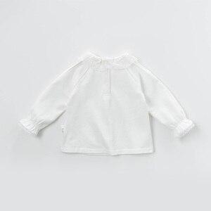 Image 2 - DB13789 dave bella frühjahr baby mädchen nette solide spitze brief shirts säuglings kleinkind tops kinder hohe qualität kleidung