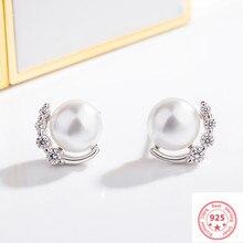 925 gümüş renk elmas küpe kadınlar için Aros Mujer Orecchini inci Bizuteria düğün taş Garnet düğme küpe takı
