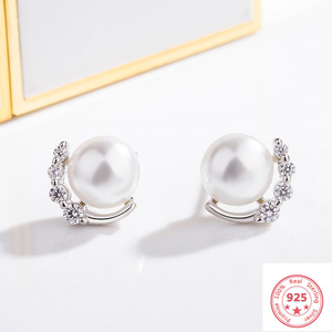 925 Silver Color Diamond Earrings for Women Aros Mujer Orecchini Pearl Bizuteria Wedding Gemstone Garnet Stud Earring Jewelry