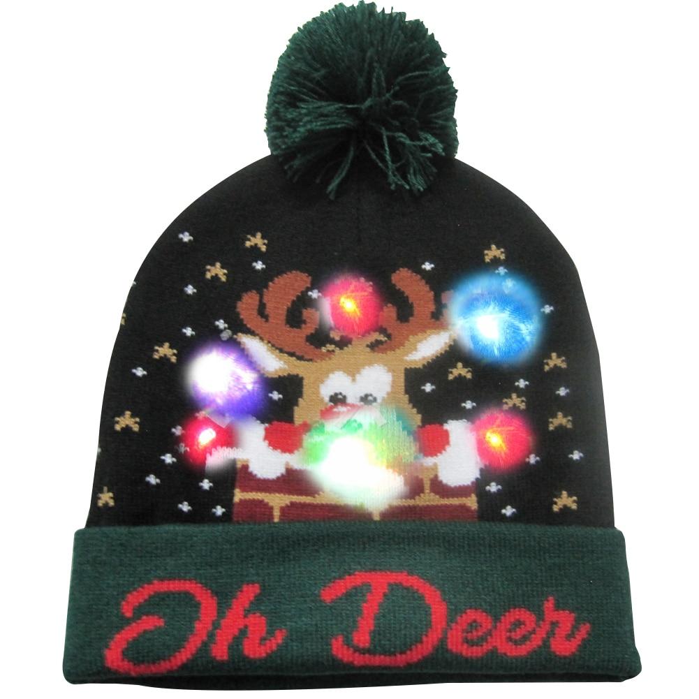 Г., 43 дизайна, светодиодный Рождественский головной убор, Шапка-бини, Рождественский Санта-светильник, вязаная шапка для детей и взрослых, для рождественской вечеринки - Цвет: 38