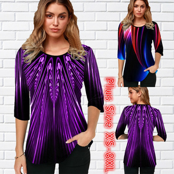 Womens Blouse Femme Summer Casual Tops Printed Round Neck Half Sleeve T Shirt Plus Size XS-8XL 1