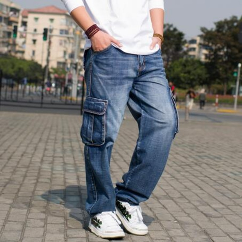 2020 Cool Mens Fashion Loose Retro Denim Jeans Pockets Pants Trousers Street Boys Hip Hop Casual Baggy Pants Size 30-46