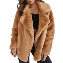 Jaycosin Fashion Women Winter Keep Warm Loose Fluffy Fleece Fur Jacket Stylish L