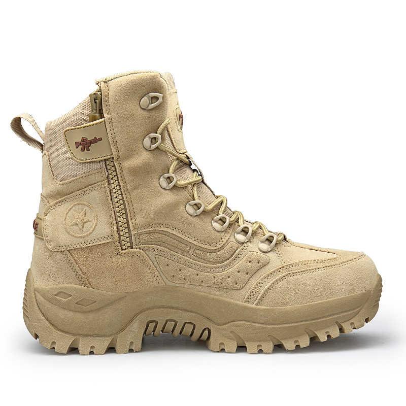 Yeni sonbahar kış kar botları boyutu 39-46 kaliteli askeri çöl botları erkekler taktik savaş yarım çizmeler Botas iş güvenliği ayakkabı
