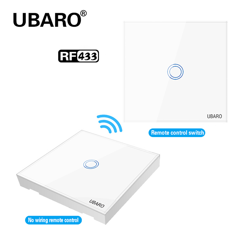 UBARO Uk/EU Crystal Glass Panel Wireless Remote Control Light Switch Wall Interuptor Manette Wireless Touch Switches AC:100-240V