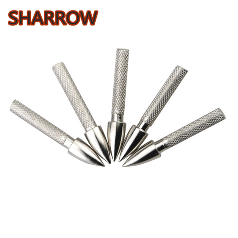 50pcs OD 8.0MM Arrow Shaft Insert Screw-in Point Wood Bow Hunting Target Archery