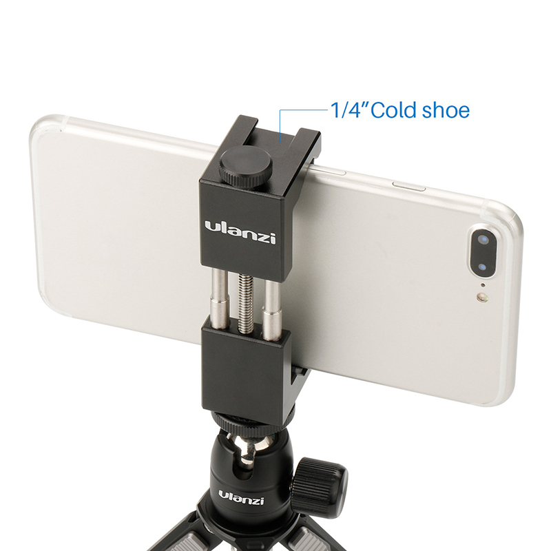 Hot Shoe Phone Clip Aluminum Alloy Phone Tripod Mount with Hot Shoe Mount Ulanzi IRON MAN II with Hand Grip 6.5~9.5cm Adjustable|Phone Holders & Stands| |  - title=
