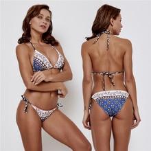 цена High Waist Swimwear Women Print Tube Up Two-Piece Halter Floral Print Bikinis Women Swimsuit Femme  Sexy Brazilian Bikini Set онлайн в 2017 году
