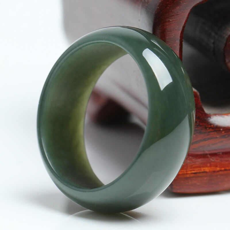 ผู้หญิงที่ยอดเยี่ยม Man's 100% ธรรมชาติสีเขียว HeTian หยกอัญมณีแหวน Lucky แหวน 17-20 มม.เส้นผ่านศูนย์กลางภายในเครื่องประดับฟรีจัดส่ง
