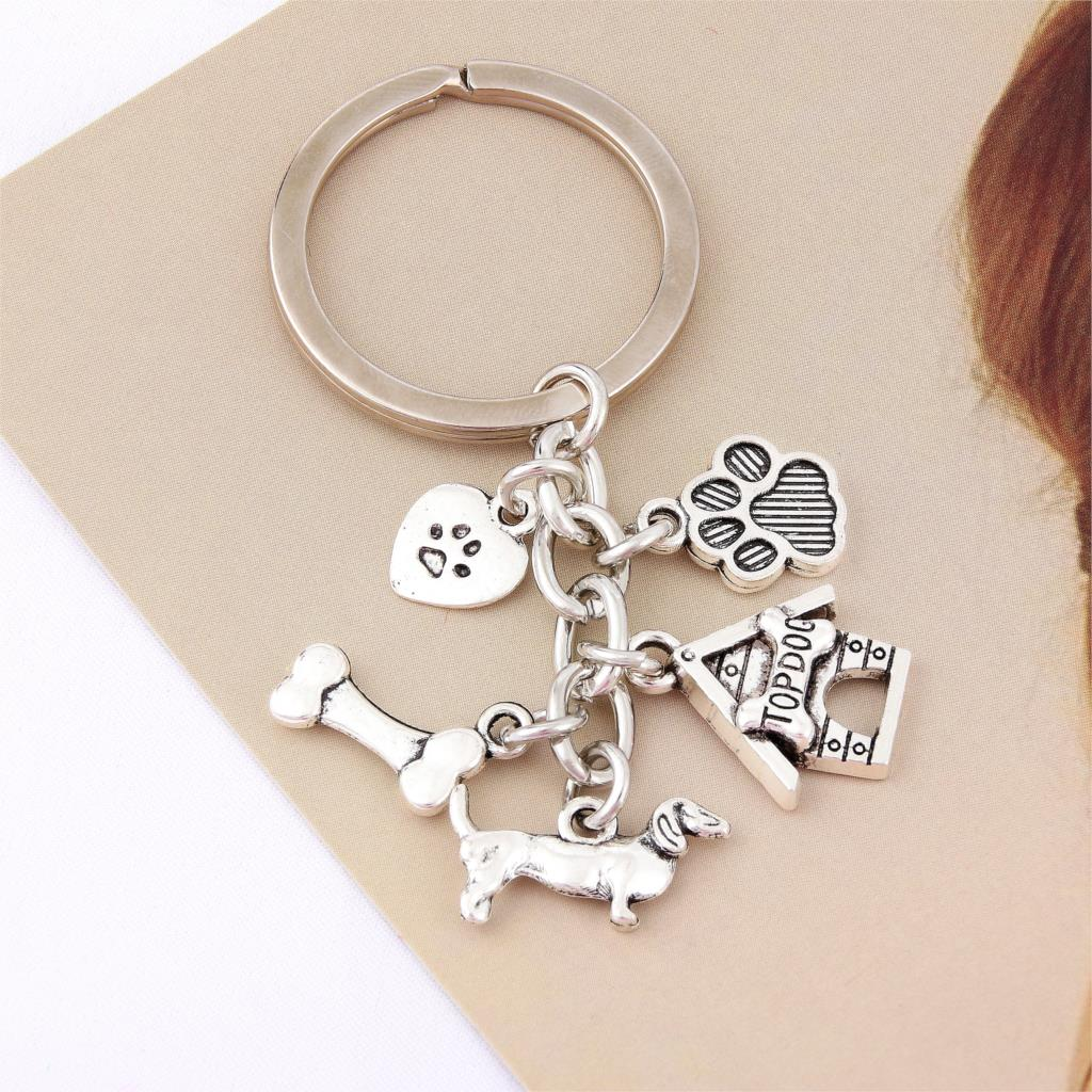 1pc Dog Bone Dog Paw Alloy Key Chain For Women Girl Bag Keychain Charm Pendant Jewelry Aceessories Gift For Dog Lover