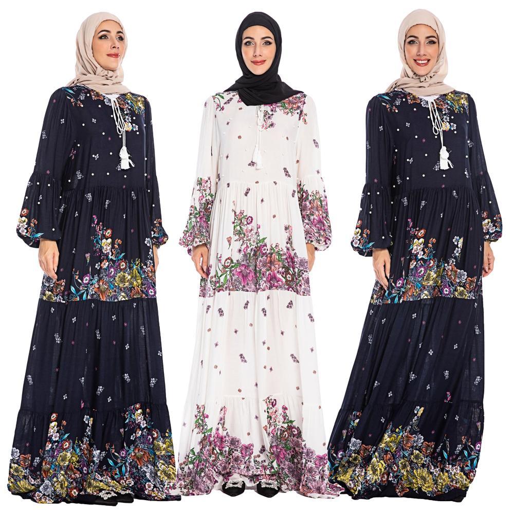 Muslim Women Printed Maxi Dress Abaya Kaftan Turkish Arab Floral Long Shirt Robe