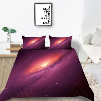 Juego de cama de nebulosa roja, funda nórdica de fantasía 3D de galaxia, juego de cama de diseño único doble
