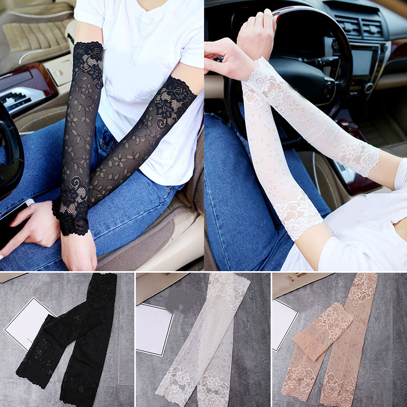 Summer Lace Elegant Women Sunscreen Gloves Ultra-thin Long Driving Cycling Sexy Black Female Anti-UV Elasticity Lace Mesh Gloves