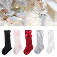 Autumn Winter New Girls Solid Color Bubble Mouth Soft And Comfortable Baby Bow Vertical Striped Socks 0-4 Years Old