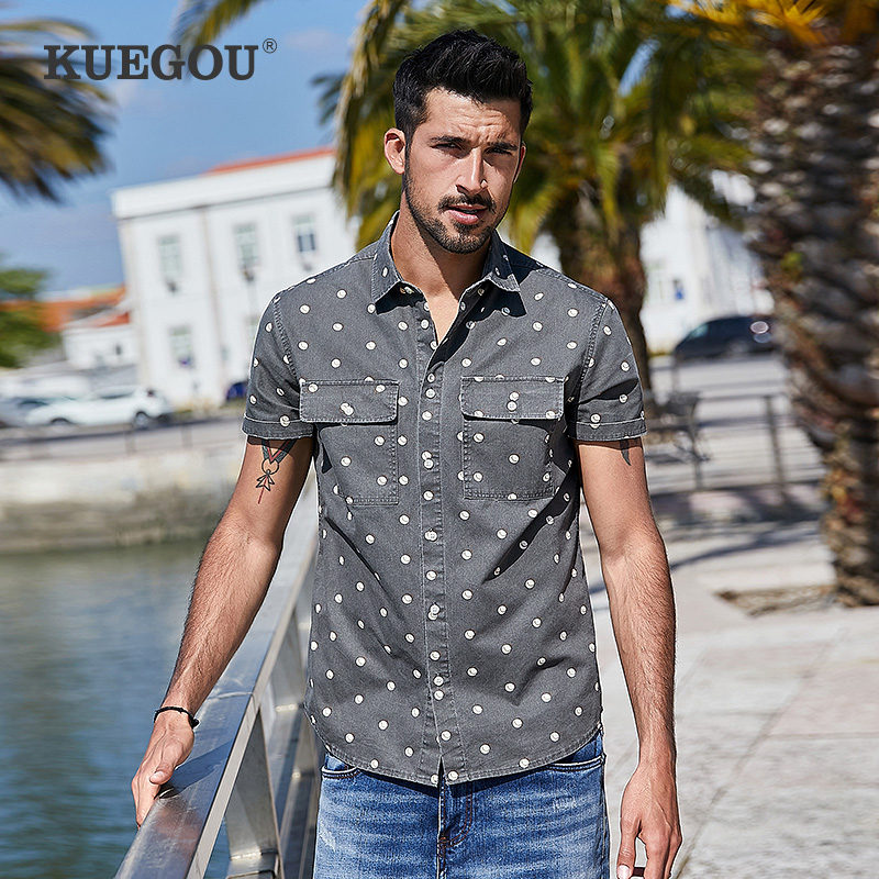KUEGOU 100% cotton Men's short sleeve shirt slim Fashion printing Polka Dot Shirts Summer men top plus size BC-28313