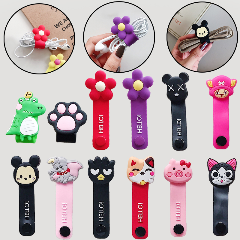 Cartoon Animal Holder Charging Cable Management Charger Winder Wire Organizer For IPhone USB Earphone Cord Protector Silicone