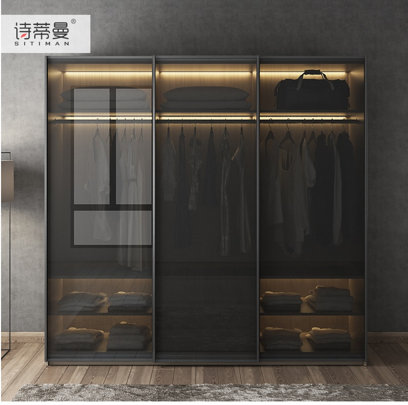 MDF Fiber Board Wardrobe with LED Lighting Dress font b Closet b font Armoire with Black