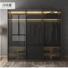 MDF Fiber Board Wardrobe with LED Lighting / Dress Closet Armoire with Black Frosted Glass Door