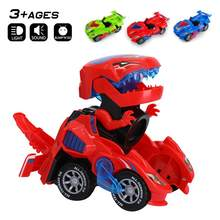 3D Transforming Dinosaur Toy LED Car With Light Sound for Kids Christmas Toy Gift(China)