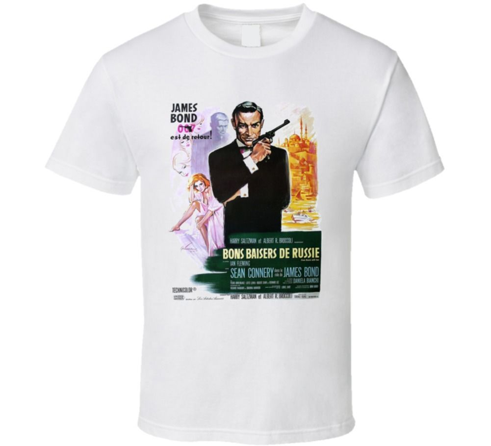From Russia With Love 60s French Connery 007 movie white T shirt Cool Casual pride t shirt men Unisex Fashion tshirt image
