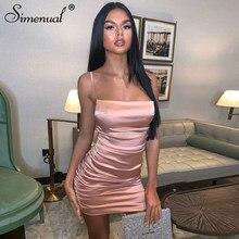 Simenual Backless seksi sıcak dantelli kadın saten elbise askısı moda parti Clubwear sıska kolsuz Bodycon Mini elbise 2020