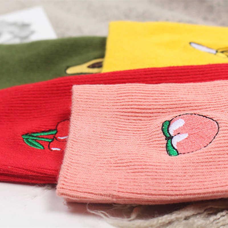 かわいい漫画フルーツプリントアボカドバナナ桜桃少女かわいい靴下 meias 韓国原宿刺繍パイルヒープおかしいソックス