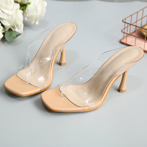 Image 5 - Kcenid Neue PVC transparent hausschuhe frauen high heels sommer hausschuhe flip flops für frauen sexy karree klar sandalen schuhe