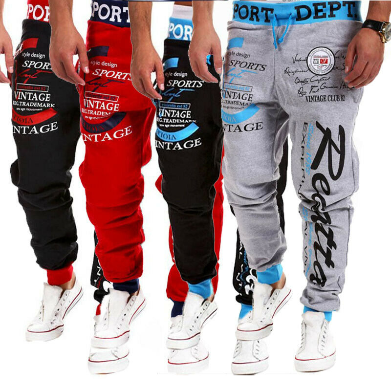 Men's Casual Pants Slim Fit Letter Printed Elastic Waist Straight Leg Trousers Pencil Jogger Cargo Pants Tracksuit