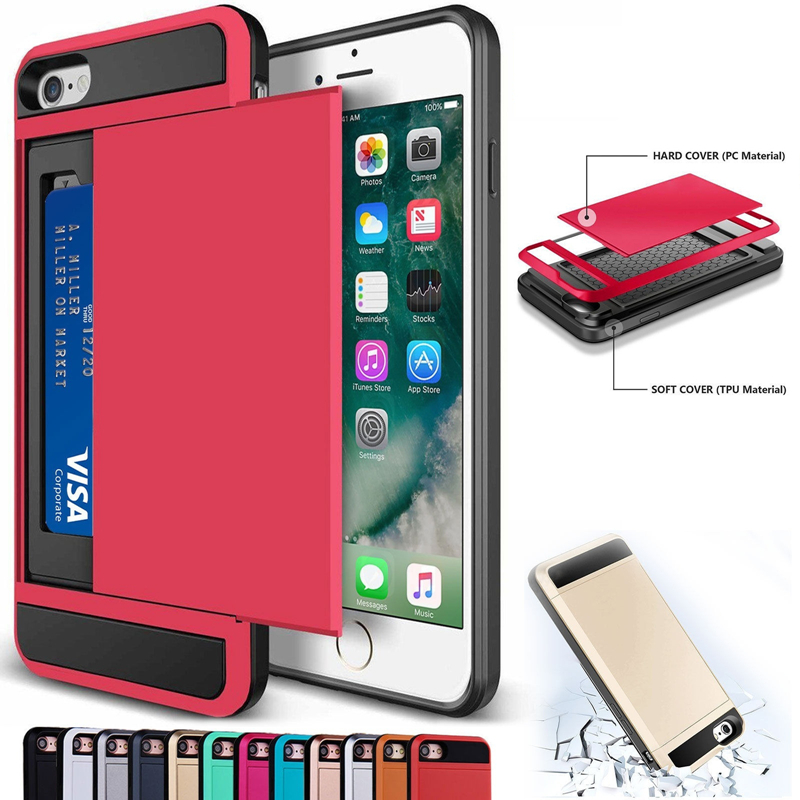 Luxury 2 in 1 Hybrid TPU + Plastic Card Pocket Wallet Shockproof <font><b>Armor</b></font> <font><b>Case</b></font> Cover <font><b>For</b></font> <font><b>iPhone</b></font> <font><b>4</b></font> 4S 5 5S SE 5C 6 6S 7 8 Plus X image