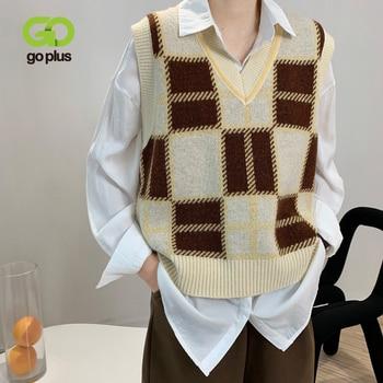 GOPLUS Vest Vintage Plaid Sweater Vest Women Korean V-neck Knitted Sleeveless Short Sweater Gilet Femme Pull Sans Manche C10786 1