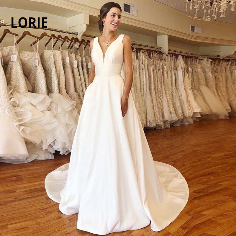 LORIE Quality Satin Wedding Dress 2019 Sleeveless Open Back Cheap Simple A-line Bridal Gown White Iovry Party Dress Customized