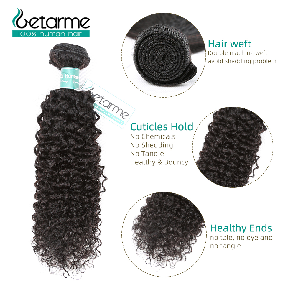 Image 4 - Getarme Brazilian Kinky Curly Human Hair Bundles With Closure Human Hair Weave 3 Bundles With 4x4 Lace Closure Remy Hair Bundles-in 3/4 Bundles with Closure from Hair Extensions & Wigs