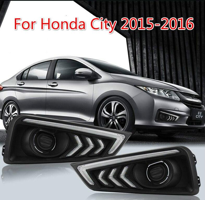 1 Set DRL Daytime Running Lights Daylight 12V ABS Fog Lamp Cover With Turn Yellow Signal Light For Honda City 2015 2016