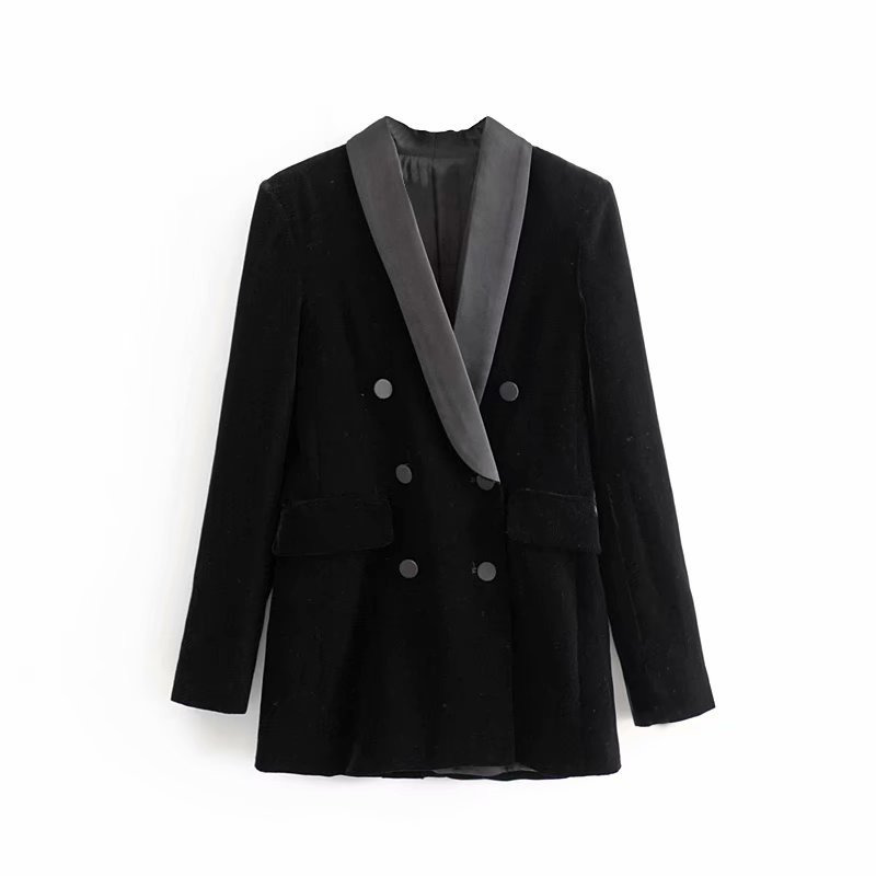 Women Black Velvet Slim Suit Jacket V Neck Casual Blazer Double Breasted 2020 Autumn Winter Office Ladies Outwear Coat Feminina
