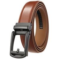 Cinturones de trinquete ajustables para hombre, cinturón de Cuero clásico de diseño de lujo de negocios, hebilla de aleación automática, de cuero de vaca