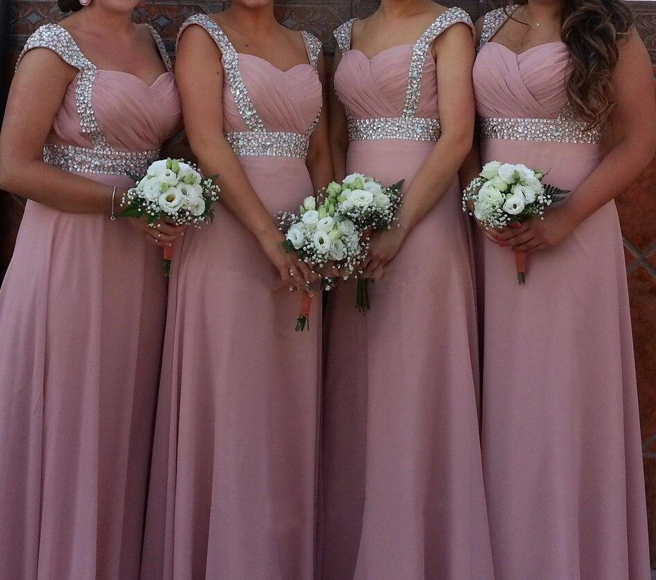 A-ligne en mousseline de soie chérie perles Crytals élégant hors épaule robes de demoiselle d'honneur pas cher robes de fête de mariage robe de soirée