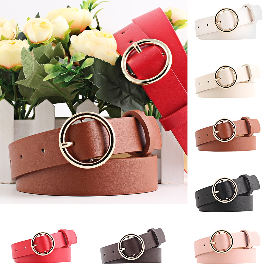 Are You Sure Not To Click In And See? New Round Faux Leather Belt Women's Personality Belt Casual Round Buckle Belt Dropshipping