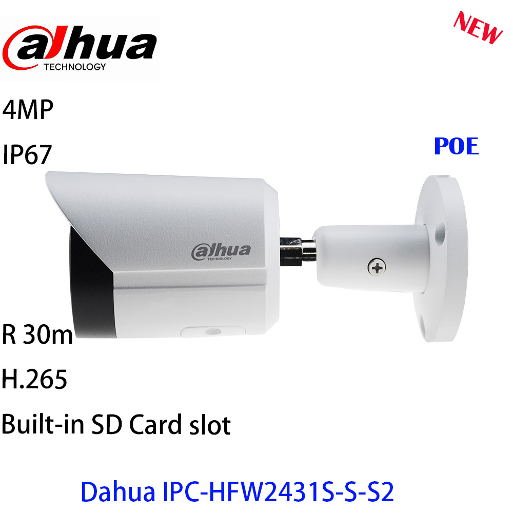 Dahua IP Camera  IPC-HFW2431S-S-S2 4mp camera Starlight POE SD Card Slot Audio Alarm H.265+ 60M IR IVS IP67