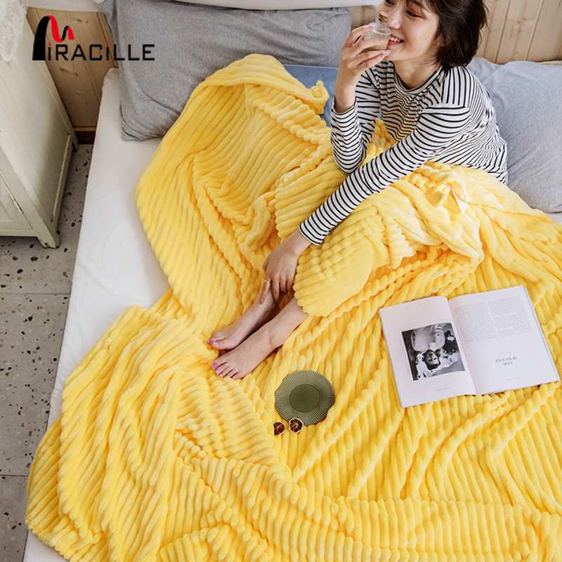Miracille Solid Striped Flannel Throw Blanket Super Soft Fleece Travel Blankets Winter Sofa Cover Bedroom Wrap Bedspread