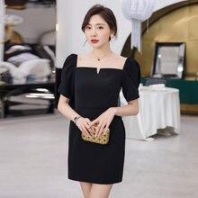 Yigelila летнее модное черное платье футляр однотонное с квадратным