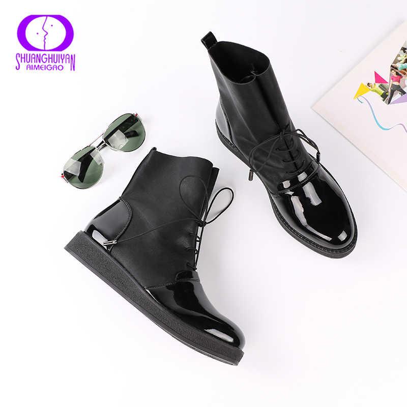 Aimeigao Thời Trang Mùa Xuân, Mùa Thu Giày Bốt Nữ Bằng Sáng Chế Da PU Nền Tảng Người Phụ Nữ Giày Plus Kích Thước Giày Cho Nữ Botas Mujer