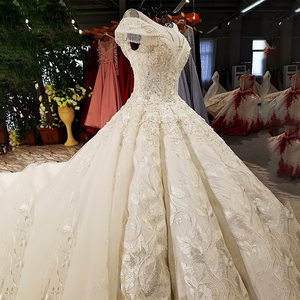 Image 3 - LS59840 see through scoop neck 2018 new design satin cap sleeve big heavy skirt super long train corset back wedding dress