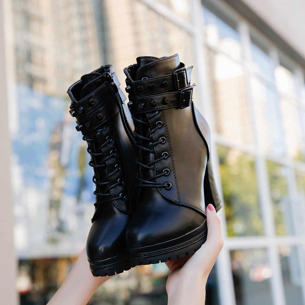 Sonbahar kış kadın yüksek topuk çizmeler ayakkabı Martain çizme deri çizmeler kadın topuk deri Lace-Up düz renk yuvarlak ayak ayakkabı