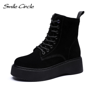 Image 1 - Women Boots Natural suede leather Ankle Boots flat Platform Boots Fashion zipper Thick bottom Black Ladies Shoes