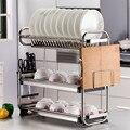 Кухонная полка из нержавеющей стали  полка для посуды  креативная полка для кухни  Настенная 3 слоя  кухонные полки  органайзер для столовых ...